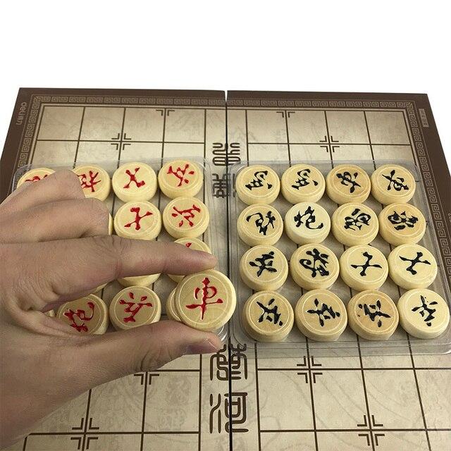 Jeu d'échecs chinois, jeu de société pliable en bois 29.5x27.5x1.3 CM, boîte chinoise, pièces en bois 6