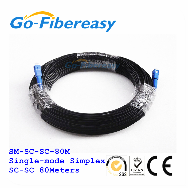 80Meters FTTH Fiber Optic Drop Cable Patch Cord SC to SC Singlemode Simplex