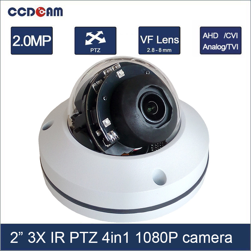 CCDCAM 2 inch 4in1 CVI TVI AHD 2MP PTZ 1080p 3x Optical Zoom Auto Iris Outdoor Weatherproof Night Vision IR 15m PTZ camera ccdcam 4in1 ahd cvi tvi cvbs 2mp bullet cctv ptz camera 1080p 4x 10x optical zoom outdoor weatherproof night vision ir 30m