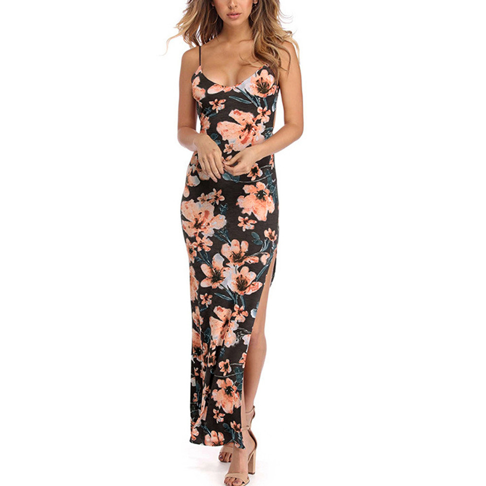 HTB1NCCHbovrK1RjSspcq6zzSXXaP Free Ostrich 2019 Fashion Womens Floral Printed Camis Backless Split Party Sexy Bodycon Long Dress Side Slit Vintage Long Dress