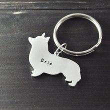 Welsh Corgi galés Corgi perro llavero chainalloy clave corte de la mano colgante del encanto hermoso