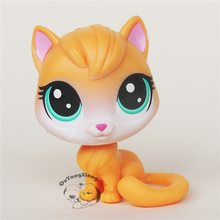 Orange CWM033 Pet Shop Animal Sentado Figura de ação boneca do gato gatinho(China)