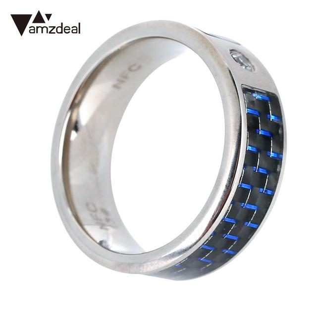 NFC Ring Finger Blue Fashion Wearable NFC Smart Ring Waterproof Cell Phone  NFC Ring for Samsung Android Creative Carbon Fiber