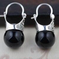 GZ 925 Gümüş Damla Küpe Doğal Siyah Yeşil Taş Sentetik İnci Garnet S925 Gümüş Küpe Kadınlar Takı için