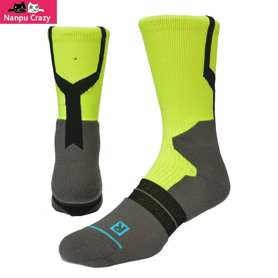 HOOP DREAMS Ankle Pads Basketball Socks for Men Cotton Nylon Breathable Mesh Compression Socks Fluorescent Green Sport Sock