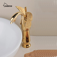 Golden Swan carved basin tap copper ceramic kitchen faucet single handle single hole hot and cold water mixed bathroom faucet