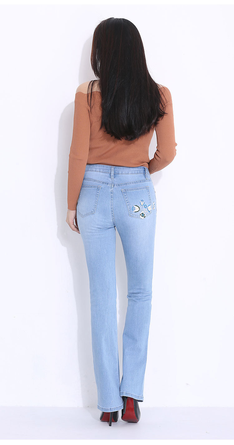 FERZIGE 2019 Women Jeans Embroidery Flares Pants Slim Fit Light Blue Stretch Long Trousrs Casual Pus