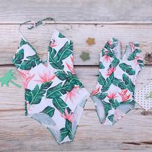2019 New Baby Girls  Swimsuit Mum and Me One Piece Beachwear Parent-child Swimwear Flounce Halter Monokini