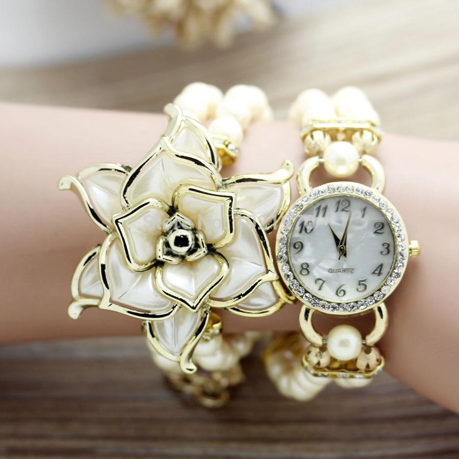 shsby New Fashion Women dress Zegarki Ladies pearl chain biały kwiat - Zegarki damskie - Zdjęcie 6