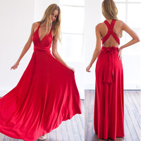 11 Color 2016 Summer Sexy Women Maxi Dress Red Bandage Long Dress Sexy Multiway Bridesmaids Convertible