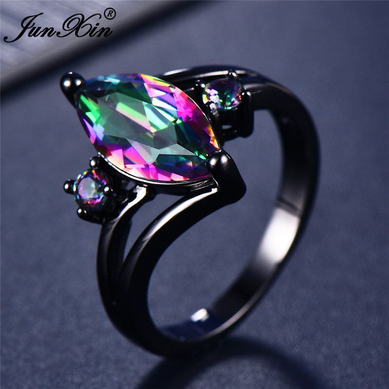 12 Color Unique Mystery Female Girls Rainbow Ring Fashion 14KT Black Gold Jewelry Bohemian Vintage Wedding Rings For Women(China)