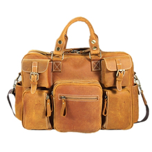 unsex Nubuck grease multifunction genuine cowhide leather big travel hand Shoulder yellow messenger laptop school business Bags
