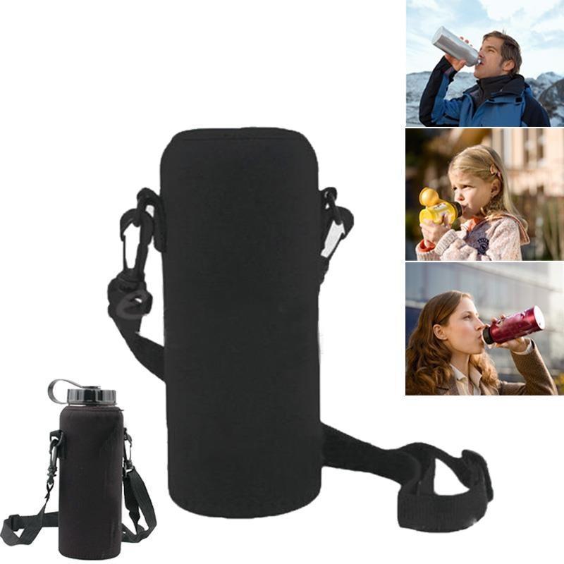 2019 New 1000ML Water Bottle Cover Bag Pouch Neoprene Water Bottle Carrier Insulated Bag Pouch Holder Shoulder Strap Black