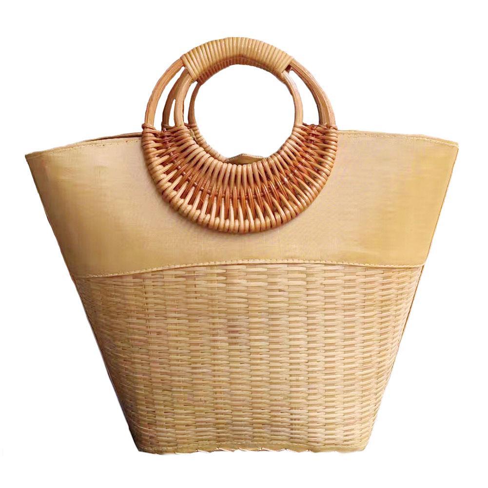 цена Vietnamese Round Rattan Bag 100% Handmade Natural Fashion Bamboo Woven Straw Braided Handbag For Women Brand New в интернет-магазинах