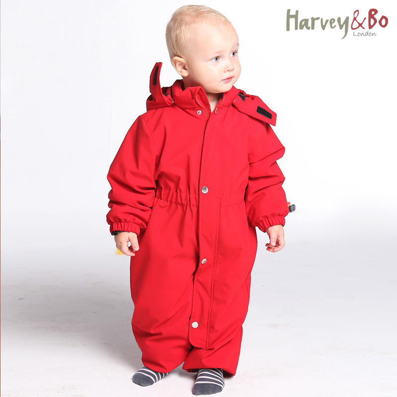 ФОТО Harvey&Bo baby snowsuit windproof waterproof outdoor overalls infant romper hoodie one piece coat autumn and winter baby clothes