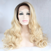 DLME Fresh Color Dark Root Ombre Blonde Heat Resistant Fiber Hair Wet Nature Wavy Light Blonde
