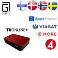 TVonline + Caixa de IPTV IPTV IPTV Escandinavos Suécia Finlândia Noruega Dinamarca Europa Real Árabe IPTV 1850 + Europa IPTV Vida IPTV