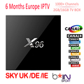 X96 Android 6.0 Caixa De Tv Com 6 Meses S905X IPTV Amlogic 2 GB 16 GB Smart Tv Box Wifi 4 K HDMI Media Player Europa Itália Árabe IPTV