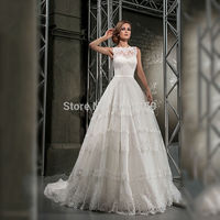 Dreaming 2019 Ivory Wedding Dresses Sleeveless Stunning Lace Appliques bridal gowns Plus size vestido de noiva