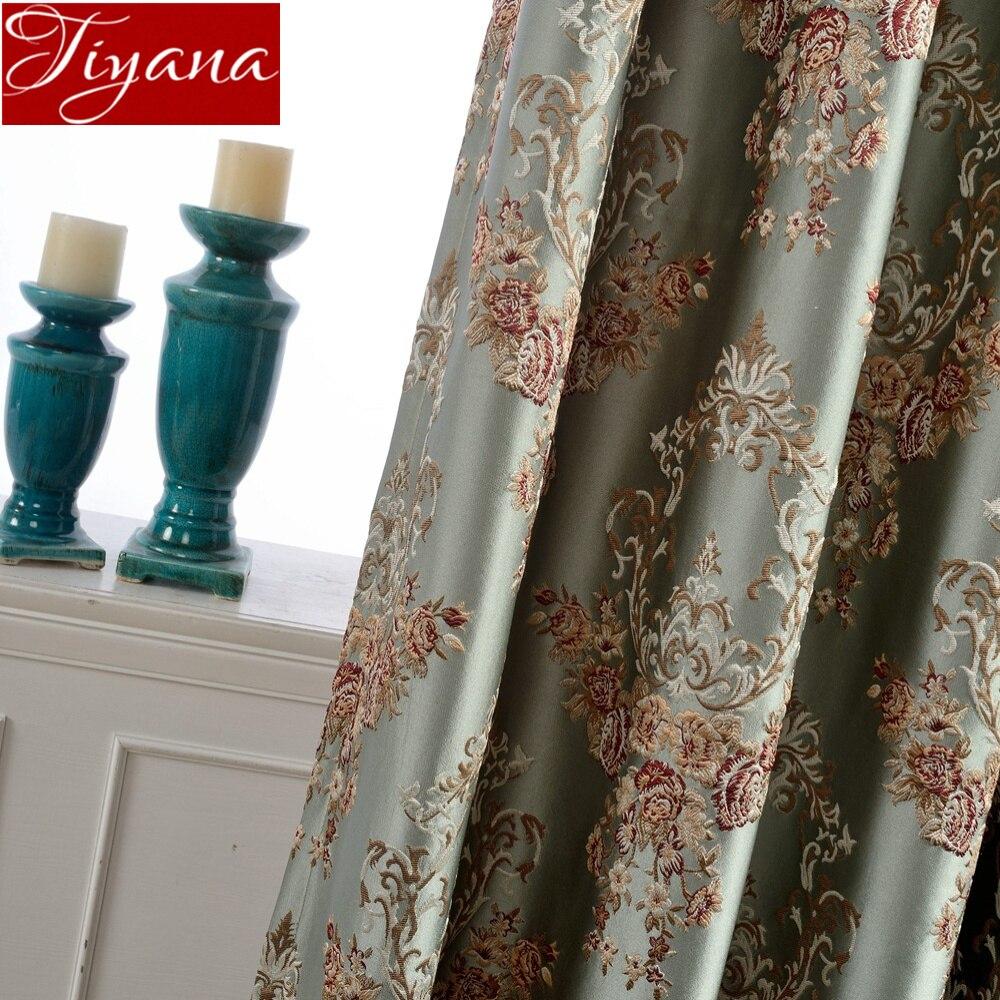 Jacquard Luxury Curtain Fabric European Shade Cloth For Living