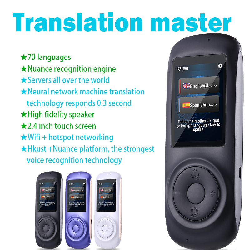 Interprète T2 traducteur langue 70 sortes traducteur traducteur vocal instantan portable simultaneo multilingue de voyage multi
