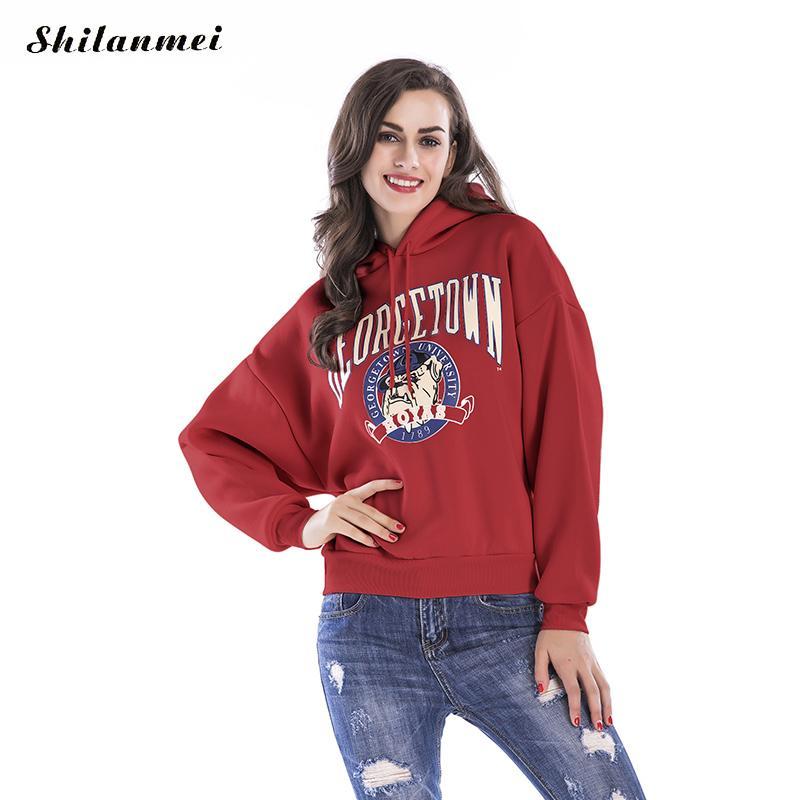 2017 Fashion Autumn Winter Fleece Bulldog Letter Harajuku Print Pullover Thick Loose Women Hoodies Sweatshirts Female Casual Top