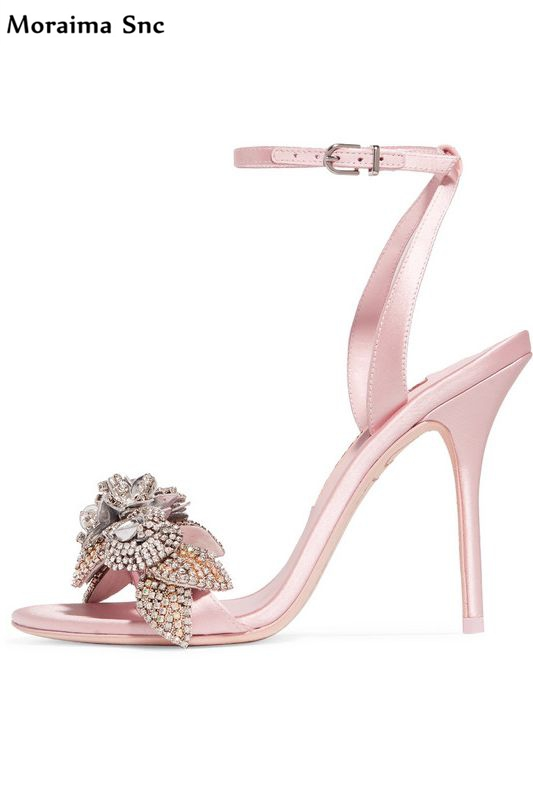 Moraima Snc sexy women sandals Flower crystal Decoration platform open toe Ankle strap buckle strap high heel party shoes moraima snc newest sexy women black string bead concise type sandals open toe thin high heel ankle strap hook solid party shoes