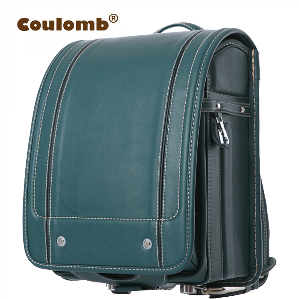 Coulomb Children's Plaid Backpack For Boy School Bag Green Orthopedic Randoseru Mochilas Infantis Japanese PU Book Bag 2017 New 10699