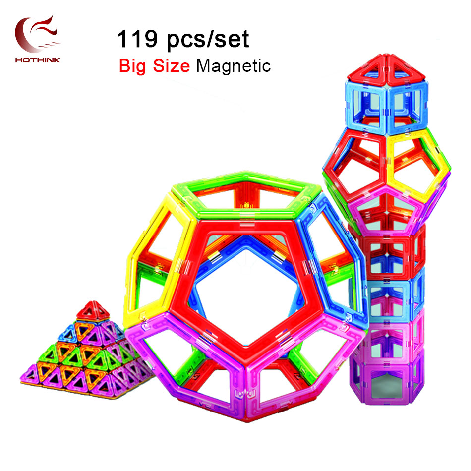 HOTHINK 119pcs big size Magnetic Blocks Designer Construction Set Model & Building Toy Plastic Educational Toys For Kid Gift ...