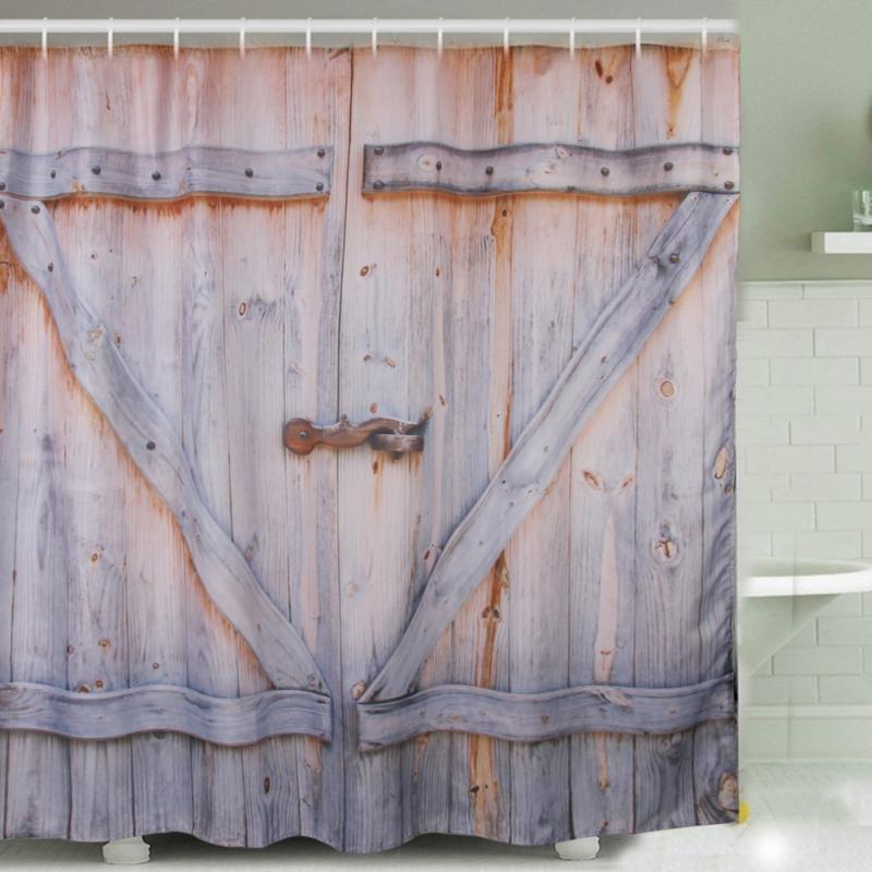 180 * 180cm Polyester Shower Curtain Old Bronze Wooden Garage Door Vintage  Rustic Shower Curtain Bathroom Decor Art 2017 Hot In Shower Curtains From  Home ...