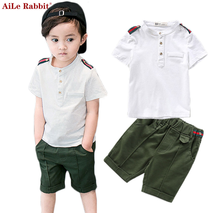 AiLe Rabbit 2017 Newest Summer Boys Clothing Sets T Shirt + Short 2 Pieces Suits Kids Cotton Gentleman Short Sleeves Fashion sun moon kids boys t shirt summer