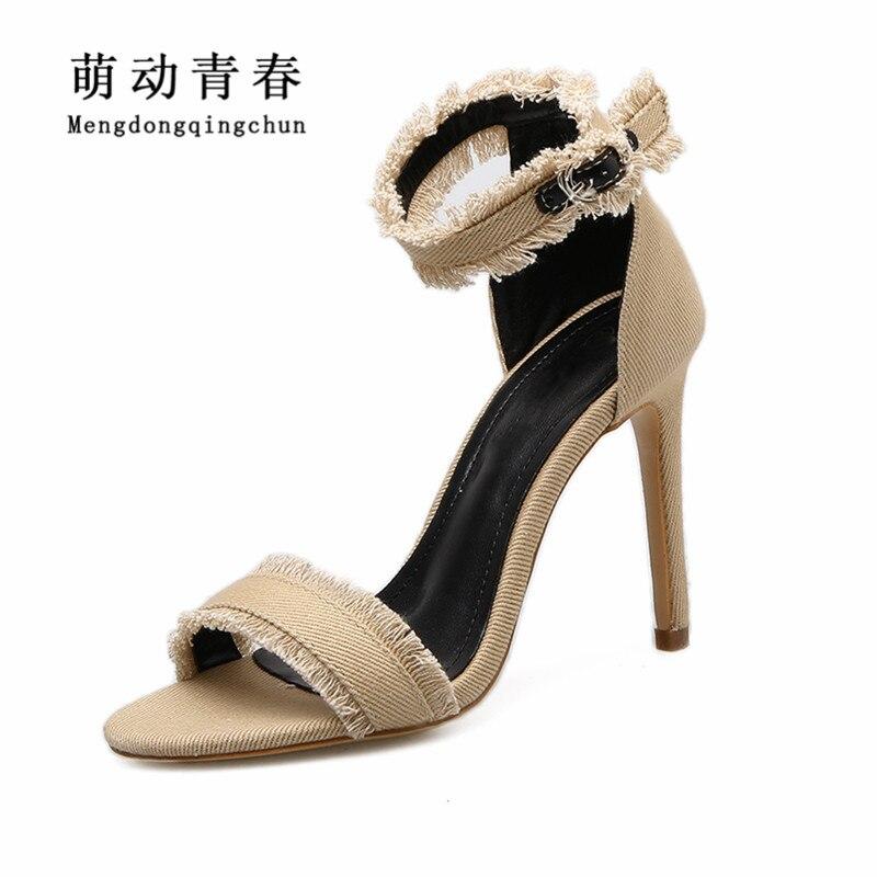 8a6532cf4a7 2018 New Women Sandals Fashion Gladiator Peep Toe Thin Heel Shoes Women  Buckle Strap Fringe Casual Jeans Denim High Heel Sandals