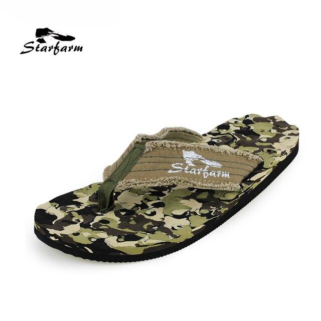 STARFARM 2018 Brand Summer Beach Sandals Camouflage Men Shoes Bubble Fabric EVA Flip Flops Leisure Sea Massage Shoes Men Flats