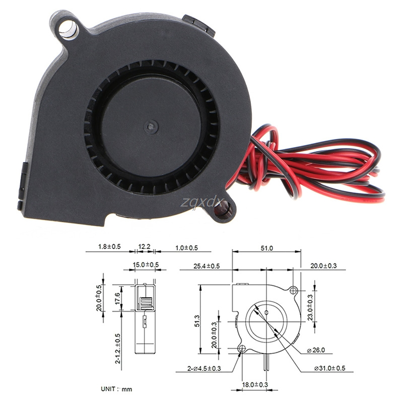 1Pc 12V DC 50mm Blow Radial Cooling Fan Hotend Ekstruder For 3D Skriver Z17 Drop Ship