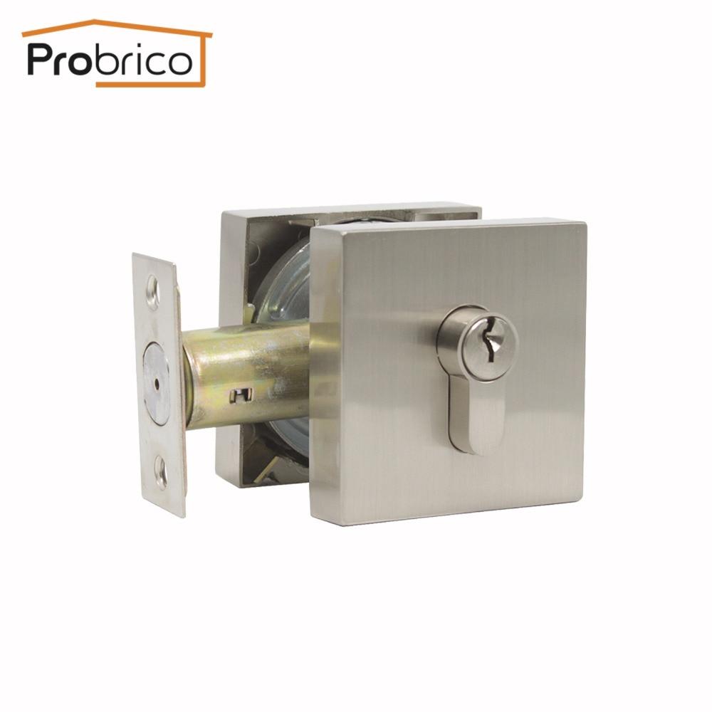 Probrico Zinc Alloy Deadbolt Security Door Locks Gate Metal Lock Square Panel With Keys Home Door Gate Atresia Mortice Haedware цена