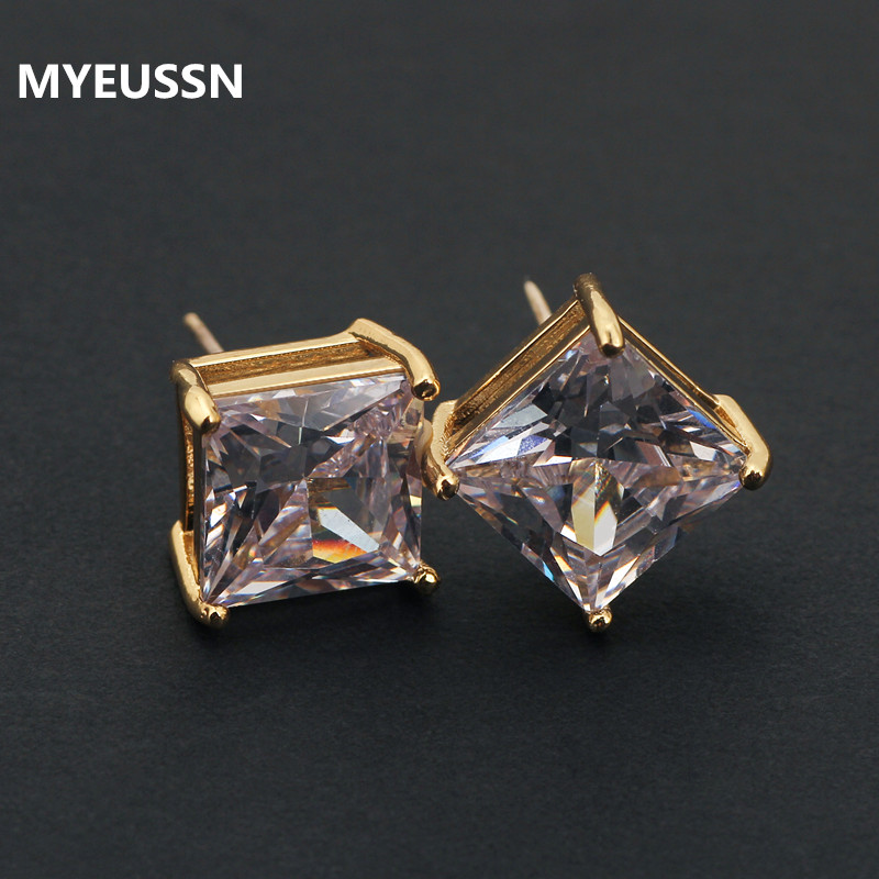 Classic Square Cubic Zirconia Stud Earrings for Men Small CZ Crystal Women Studs Ear For Party - Earrings For Men