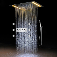 Hot And Cold Mixer Set Bathroom Faucet Electric LED Shower Head Concealed Rain Massage / 3 Way System