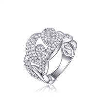 2017 Luxury Ring Fashion Link Chain Designs Anillos Wide Jewellery Ring Women Wedding Gift ROXI Promise
