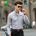 High Quality Men Shirt Long Sleeve Cotton Solid Dress Man's Business Clothing Turn-Down Collar Social Brand Shirts MDSS1507