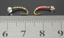 MNFT 10PCS 12# Brass Golden head Red & Silver,Brown&Silver Midge Fly Pupa Larva Nymph for Fly Fishing,2 Colors Choice