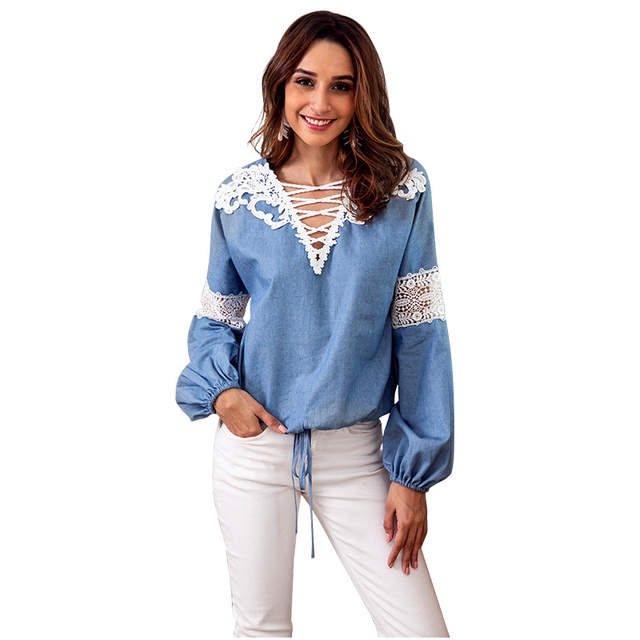 38846396828f Online Shop Aphrodite Home Femme Womens Tops Fashion Autumn Denim Blue Shirt  Women Long Sleeve Blouse Lace Woman Clothes Roupas Femininas