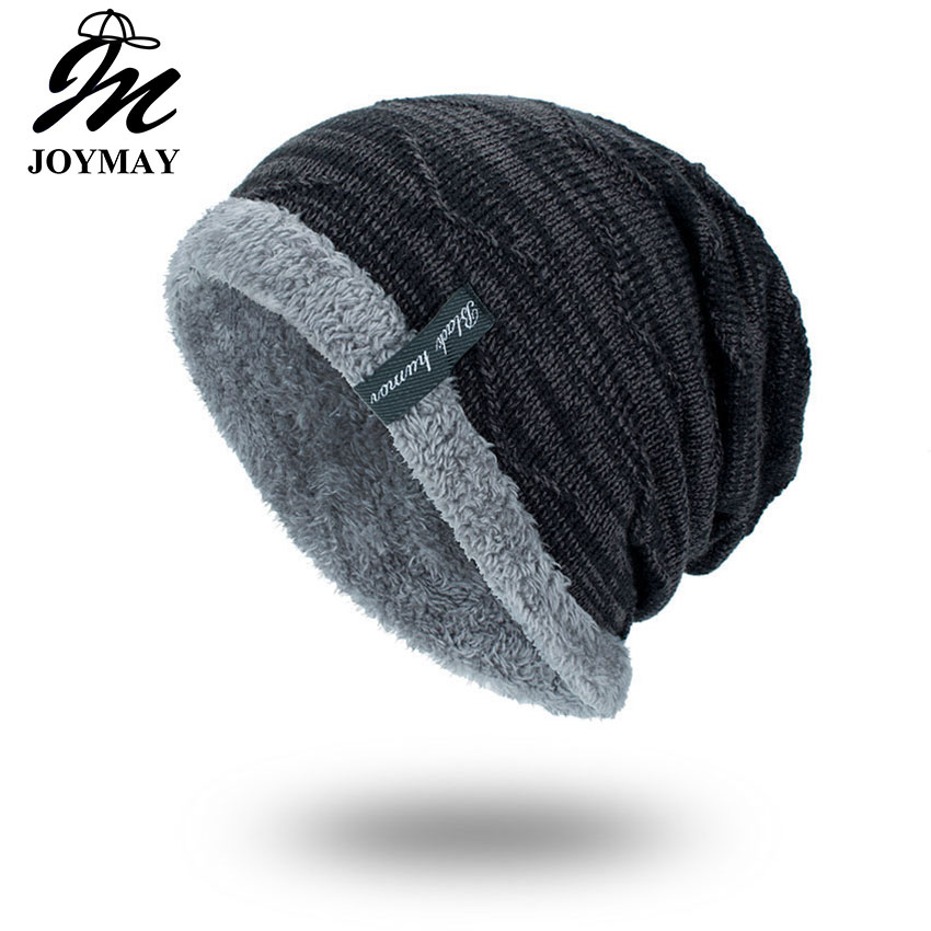 Joymay 2017 Winter Beanies Solid Color Hat Unisex Plain Warm Soft Skull Knitting Cap Hats Touca Gorro Caps For Men Women WM059 new winter beanies solid color hat unisex warm grid outdoor beanie knitted cap hats knitted gorro caps for men women