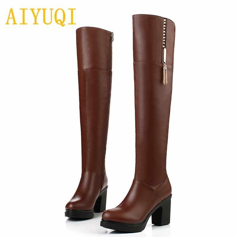 Aiyuqi Mùa Đông 2019 Mới Chính Hãng Nữ Da Đầu Gối Của Giày Ấm Plus Cashmere Xe Máy-Giày Cao Gót Thời Trang Nữ giày Tăng