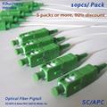 10 pcs SC/APC-0.9mm-PVC-SM (G657A)-White-1m Pigtail da Fibra Óptica