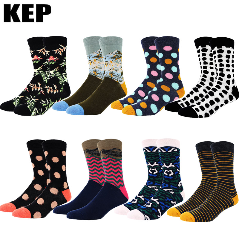 New Trend Fashion Harajuku Combed Cotton Mens Socks Funny Happy Wedding Socks Business Socks Cool Hip Hop Dots Stripe Sox Men