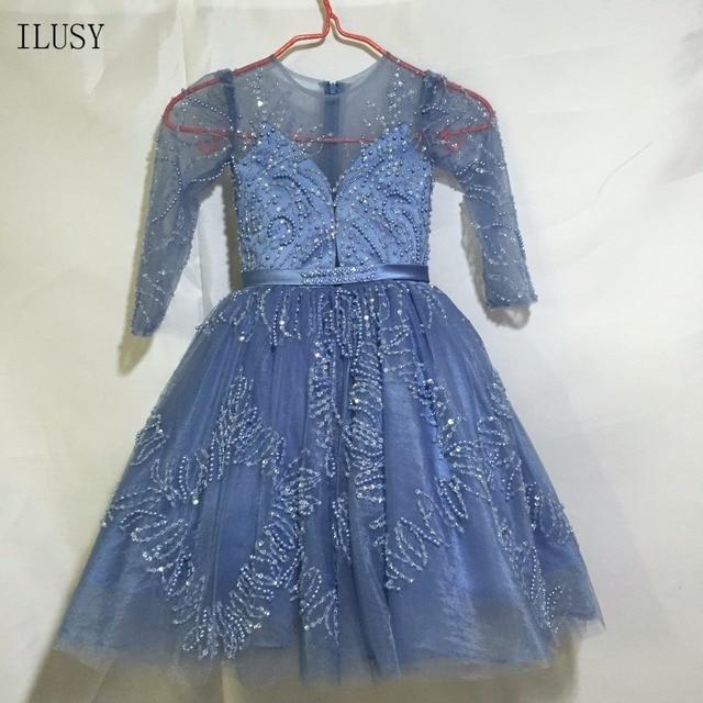 ILUSY Glitter Ball Gown Flower Girl Dresses Puffy Crew Collar Long Sleeve  Child Dress de98bdf921d6