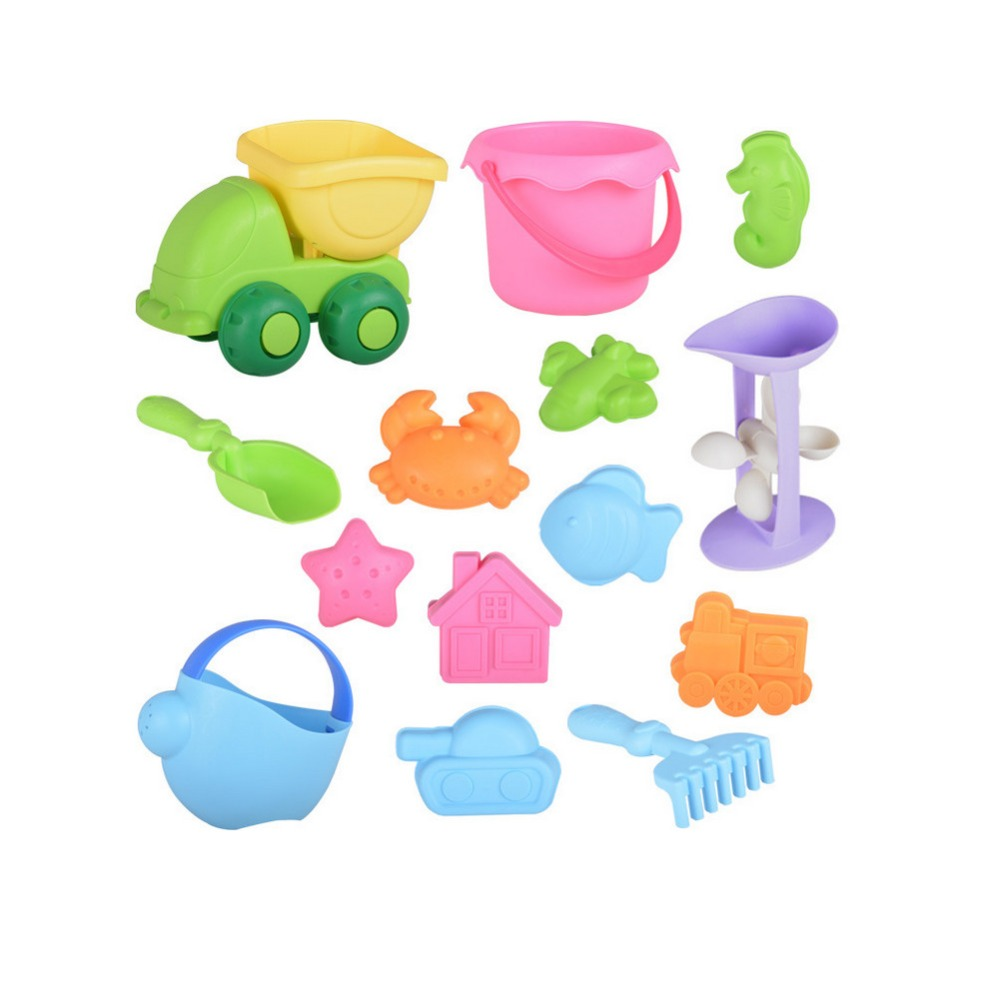Beach Sand Toys Set For Toddlers/Kids With Bucket And Watering Can By Seaside Or Pool 14 PCS/ Set (Random Color)