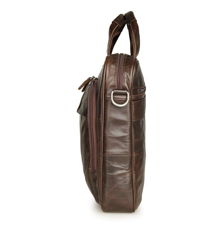 Nouveau mode en cuir véritable hommes Messenger sacs en cuir de vachette homme croix sac décontracté hommes Commercial mallette sac # MD J7334 - 3