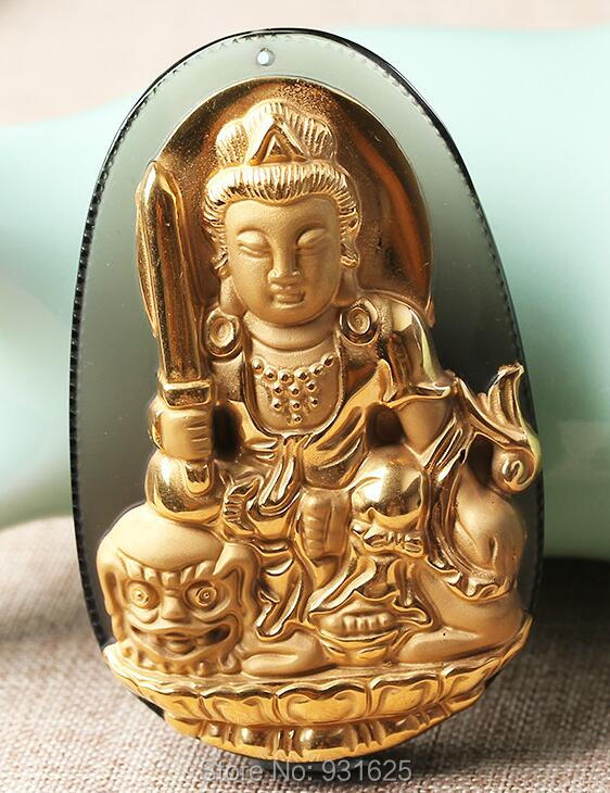 Natural Ice Clear Obsidian Carved 18 Gold  Chinese WenShu Kwan-Yin Buddha Lucky Pendant + free Necklace fashion JewelryNatural Ice Clear Obsidian Carved 18 Gold  Chinese WenShu Kwan-Yin Buddha Lucky Pendant + free Necklace fashion Jewelry