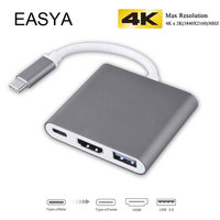 EASYA Wholesale 3 in 1 USB C Hub to HDMI Adapter 4K HD Aluminum with Type C Power Delivery USB Hub 3.0 for MacBook Pro